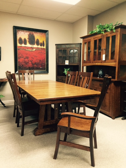 Amish Built By Fusion Designs The Goshen Double Pedestal Table Features 1 Thick Solid Wood Tops Shown As A 42 X 72 Extends To 96 4 Sawn Oak